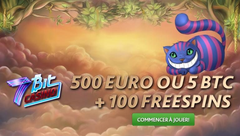500 euro ou 5 BTC + 100 free spins