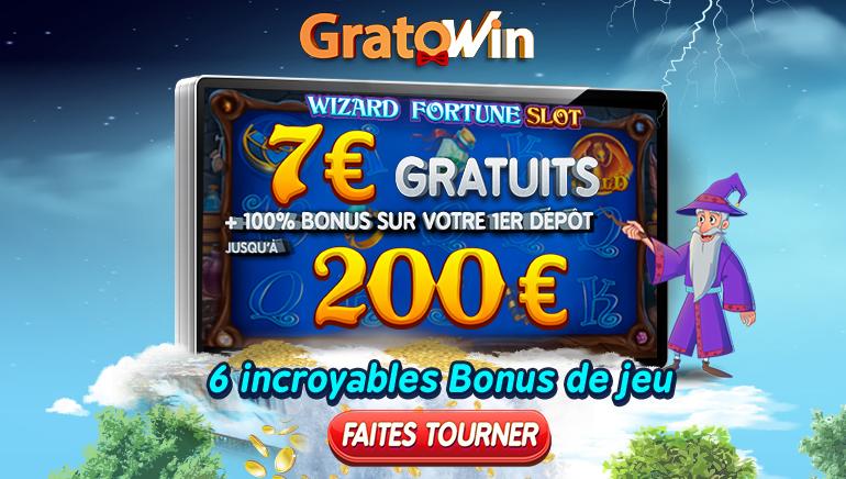 Les Nouveaux Joueurs de GratoWin Reçoivent un Bonus Gratuit de €7 & €200 de Bonus de Bienvenue