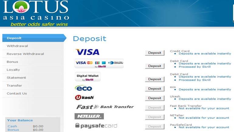 Les payements en ligne les plus rapides sont sur Lotus Asia