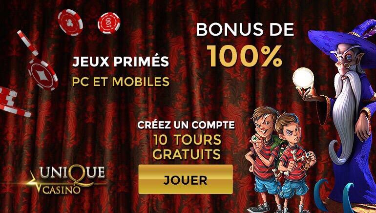 Unique Casino - 200 € BONUS DE BIENVENUE - 100% DE BONUS JUSQU'À 200 € SUR VOTRE PREMIER DÉPÔT